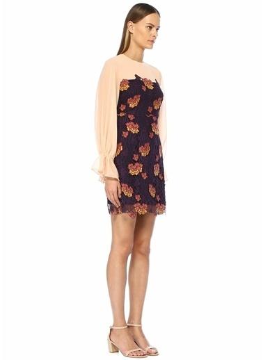 Foxiedox Dantelli Balon Kol Mini Şifon Elbise Mor